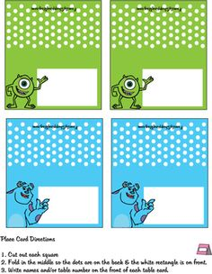 Place Card, Monsters Inc, Place Cards - Free Printable Ideas from Family Shoppingbag.com