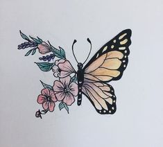 Colors I want Amazing Drawings, Cool Drawings, Tattoo Drawings, Pencil Art Drawings, Art Drawings Sketches, Drawing Art, Aesthetic Painting, Aesthetic Drawing, Butterfly Drawing