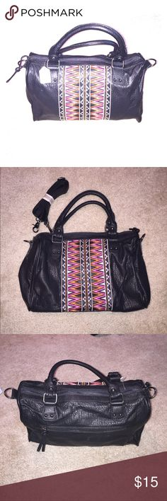 Let Them Eat Cake Black Aztec Embroidered Handbag Like-New black handbag with Aztec Embroidered Detail. Let Them Eat Cake Brand. Purchased from a boutique consignment shop with tags remaining. Medium-sized, can be carried as a hand or shoulder bag. Two interior open pockets, one interior zippered pocket and one exterior zippered pocket. Unopened shoulder strap included! Let Them Eat Cake Bags Shoulder Bags