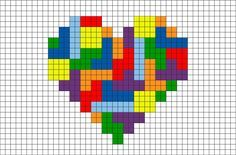 Tetris Heart Pixel Art from Heart, colorful, puzzle Perler Bead Art, Perler Beads, Counted Cross Stitch Patterns, Cross Stitch Embroidery, Pixel Art Grid, Art Perle, Graph Paper Art, Pixel Crochet, Perler Bead Templates