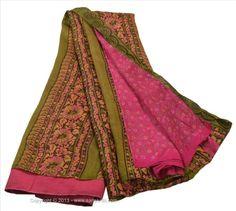 VINTAGE INDIAN SAREE PRINTED FABRIC PURE SILK SARI DRESS CRAFT 5 YARD GREEN PINK