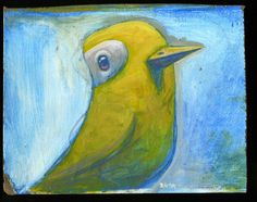 I bought this bird painting from Brett a few years ago at the Craftywonderland show, I love the crazy bird paintings!! Sketchy Yellow bird by-Brett Superstar