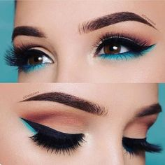 The Smokey Eye Make-up is perfect for the shape of your eyes . - Make-up - # . , The Smokey Eye Make-up is perfect for the shape of your eyes . - Make-up - Makeup Eye Looks, Cute Makeup, Smokey Eye Makeup, Skin Makeup, Eyeshadow Makeup, Gorgeous Makeup, Blue Eyeliner, Teal Makeup, Makeup Brushes