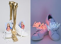 Kate Moss and Naomi Campbell refashion the Adidas Stan Smith shoe for a charity auction