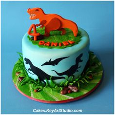 Dinosaur cake - A small cake to selebrate a little dinosaur lover. Silhouettes on the sides are cut using Cricut cutter. The topper is made of sugar paste. 20 servings of Red Velvet cake with White Chocolate Cream Cheese Buttercream. T Rex Cake, Dino Cake, Dinosaur Birthday Cakes, 4th Birthday, Dinosaur Party, Dinosaur Cakes For Boys, Birthday Ideas, Dinasour Cake, Small Cake