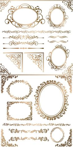 Set of vector gold ornamental elements and frames with floral ornaments for decorating cards, invitations Boarders And Frames, Free Frames And Borders, Borders Free, Border Templates, Wedding Album Design, Creation Deco, Parchment Craft, Border Design, Design Elements