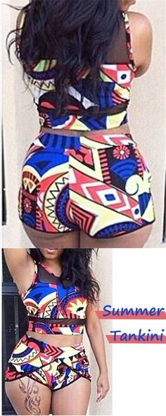 This two piece bikini tankini bathing suit has a fun retro-inspired print and bright colors making it an eye-catching bathing suit perfect for any vacation.#tankini #swimwear #swimsuit #summerstyle #beach