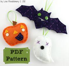 Felt Halloween Ornament Set PDF Pattern Embroidery Hand Sewing Holiday Cute Bat Pumpkin Ghost. $8.00, via Etsy.