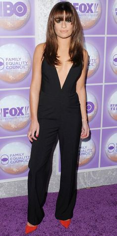 Lea Michele took the plunge at the Family Equality Council's Los Angeles Awards Dinner in a sexy black Mason by Michelle Mason jumpsuit with a down-to-there neckline, complete with red suede Barbara Bui pumps.