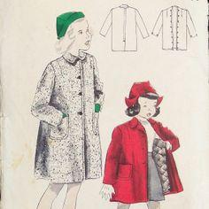 Vintage 1940s Girls Coat Pattern Butterick by RebeccasVintageSalon, $7.20