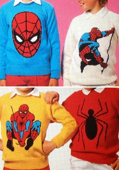Knitting Pattern For Spiderman Sweaters - Vintage Pattern For A ; strickmuster für spiderman-pullover - vintage-muster für a. modèle de tricot pour les pulls spiderman - modèle vintage pour un Intarsia Knitting, Jumper Knitting Pattern, Jumper Patterns, Loom Knitting, Knitting For Kids, Double Knitting, Knitting Projects, Baby Knitting, Crochet Projects