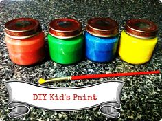 Homemade Paint for Kids - Equal parts flour, salt, and water, plus food coloring.
