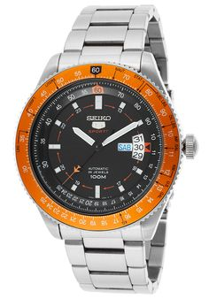 Image for Men's Pilot Automatic Stainless Steel Black Dial Orange Bezel from World of Watches