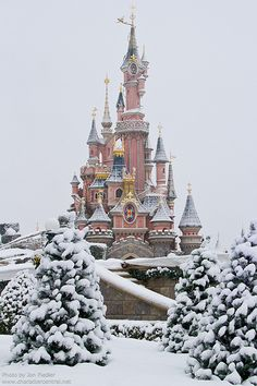 Snowy Disneyland - Paris, France