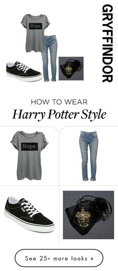 """""""Arriving-Diagon Alley-Quotev it's not easy being cursed"""" by jasdrummo on Polyvore featuring Yves Saint Laurent and Vans"""
