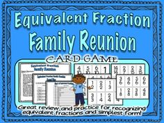 $ Fun card game to review and practice recognizing equivalent fractions and simplest form.  Math centers, whole class group play! $