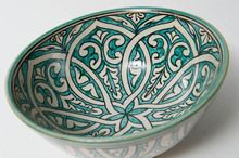 Large Moroccan Green Arabic Geometric Salad Bowl- bring a homemade salad and moroccan bowl to a summer bbq