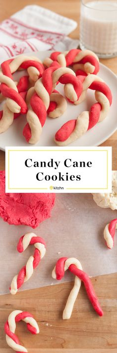 Candy Cane Cookies – The Kitchn Candy Cane Cookies Best Candy Cane Cookies Recipe. These simple and easy cookies are perfect if you're looking for recipes and ideas for holiday baking. One of the most popular Christmas or Xmas treats to bake with kids. Christmas Cookies Kids, Cookies For Kids, Christmas Cooking, Holiday Cookies, Christmas Desserts, Holiday Treats, Christmas Treats, Holiday Recipes, Christmas Candy