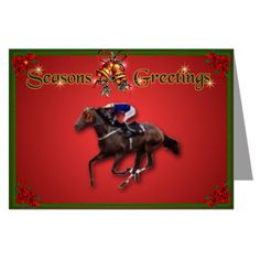 Race Horse Xmas Cards Pk of 10 Horse Greeting Cards Pk of 10 by CafePress. Seasons Greetings thoroughbred horse racing Christmas Cards. Inside is a matching colorful border, ready for your happy holiday message Horse Greeting Cards Pk of 10 Greeting cards are a great way to express yourself and to keep in touch with friends and family. A personal note on a beautiful card will make a lasting impression and a touching keepsake. Available in your choice of paper stock. Price: $21.00