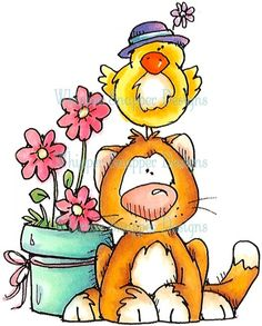 Gatinho - Vasinho com Flor e Passarinho com Chapéu