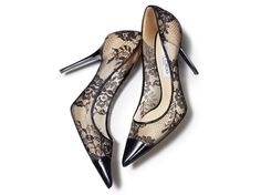Jimmy Choo Lace and Leather Trimmed Heels. Beautiful!