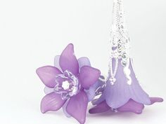 Purple Earrings Lucite Flower Earrings Sterling Earrings Silver Jewelry Lavender Lilac Light Purple Floral Jewelry Tall Earrings on Etsy, $21.95