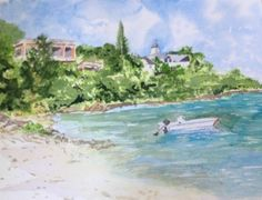 Watercolour.. Mahogany Bay, Jamaice.  Fun times, Scuba diving & banana boat rides
