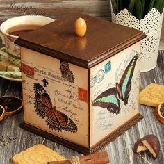 """2. Купить Короб для конфет,чая,трав """"Бабочки"""" декупаж. - короб, короб для кухни, короб для чая"""