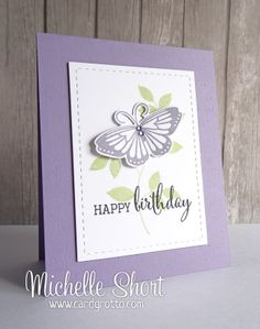 Clearly Besotted Elegant Butterfly, Fabulous Fuchsias (sentiment) and Leafy Accents stamp sets but could be mimicked with different stamp sets; Inks - PTI Winter Wisteria and Spring Moss; Birthday