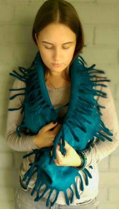 Felted scarf Womens cowl Autumn Winter neckwarmer Dark teal