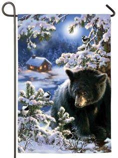 Winter Bear Cub Suede Reflections Garden Flag