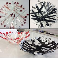 Fused glass coral bowl - before and after - Glassateria