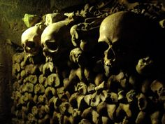 Skull and bones in the catacombs of Paris, France