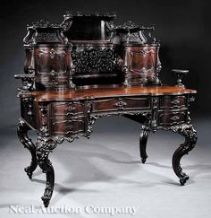 American or Continental Rococo Revival Carved Rosewood Escritoire, mid-19th c.