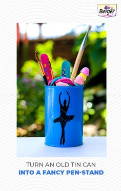 Add a new décor accessory on your desk by converting an old paint tin into colourful & attractive pen stand. These would make great gifts for your coworkers.
