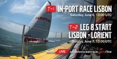 Volvo Ocean Race Lisbon Stopover Events - In-Port Race June 6 @ 14:00 local/13:00 UTC + Leg 8 start June 7 @ 14:00 local/13:00 UTC   Watch Live on http://volvooceanrace.com/live  #VORLisbon #Portugal