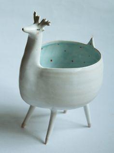 Rudolf the reindeer reindeer bowl ceramic bowl by clayopera