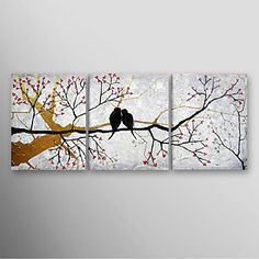 Hand Painted Oil Painting Landscape Blue Tree with Stretched Frame Set of 3 Ready to Hang – USD $ 99.59