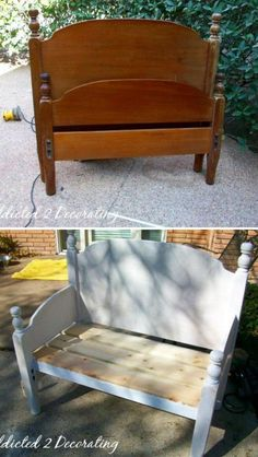 bench from an old twin bed frame. .