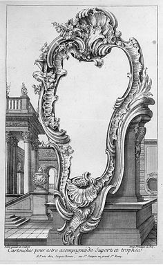"""Print, """"Cartouche placed in front of a Pedestal with Buildings in the Background"""", 1700–75"""
