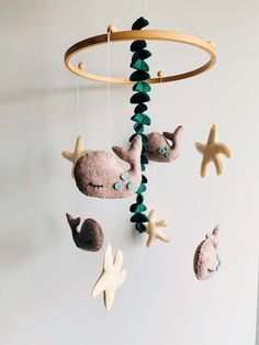 Whale Mobile, Mobile Baby, Nautical Mobile, Wooden Rings, Sea And Ocean, Felt Toys, Wooden Beads, Natural Materials, Beautiful Babies
