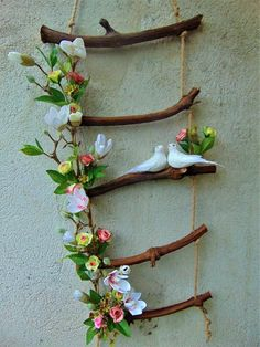 Decorative rope ladder with flowers and doves wedding wall decor rustic wedding wedding hanging decor wedding centerpiece wedding gift idea 50 diy valentines day gifts for him Diy Home Crafts, Garden Crafts, Garden Projects, Hanging Wedding Decorations, Centerpiece Wedding, Decor Wedding, Rustic Wedding, Chic Wedding, Wedding Table