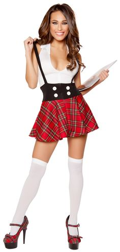 Teasing School Girl Costume http://www.envycorner.com/teasing-school-girl-costume.html RM-10097 Teasing School Girl Costume features a sexy dress with a white top and plunging neck, black waistband and red plaid skirt and zipper closure. Made of polyester and spandex. Thigh highs not included, sold separately. #halloweencostumes #halloweenoutfit #envycorner