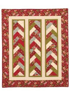 """The Braid in a Day Quilt Pattern comes with an acrylic template and can easily be made using 2 1/2"""" strips for the braids!  Just one Jelly Roll is enough fabric to make baby- to king-size braids. Finished size: Baby: 41"""" x 48"""" using 9 (2 1/2"""") strips Lap: 53"""" x 72"""" using 14 (2 1/2"""") strips Twin: 64"""" x 104"""" using 20 (2 1/2"""")strips Queen: 100"""" x 114"""" using 33 (2 1/2"""") strips King: 113"""" x 114"""" using 39 (2 1/2"""") strips"""