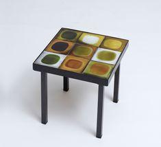 Roger Capron; Glazed Ceramic Tile and Enameled Metal Side Table, 1964.