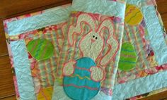 Easter Bunny and Eggs Placemats Set of Two by pdqdesigns on Etsy, $32.93