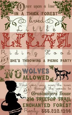 Storybook Picnic  Little Red Riding Hood Picnic by LucLilahEvents, $16.00
