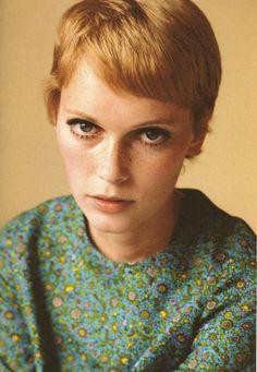Mia Farrow in an adorably retro print. And that hair!