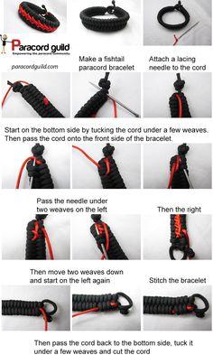 A tutorial on a stitched paracord bracelet.