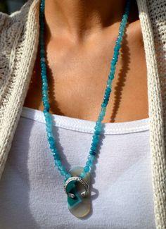 Unique Aqua Agate Gemstone Beaded Necklace by uniquebeadingbyme
